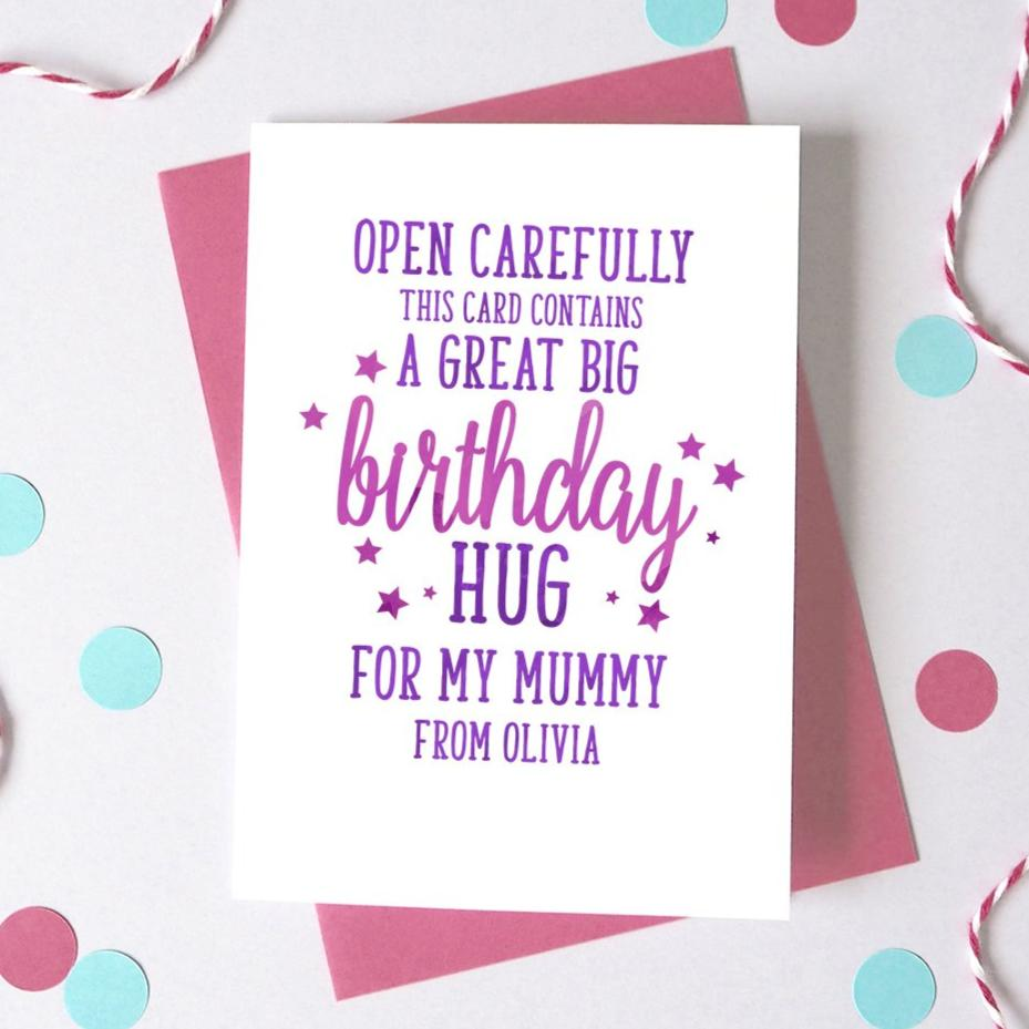 Personalised Hug for Mummy/Daddy Birthday Card