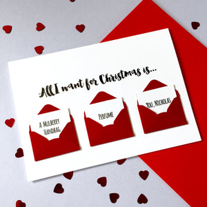 Personalised All I Want For Christmas Wish List Card