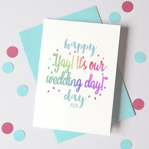Personalised Yay! Wedding Day Card