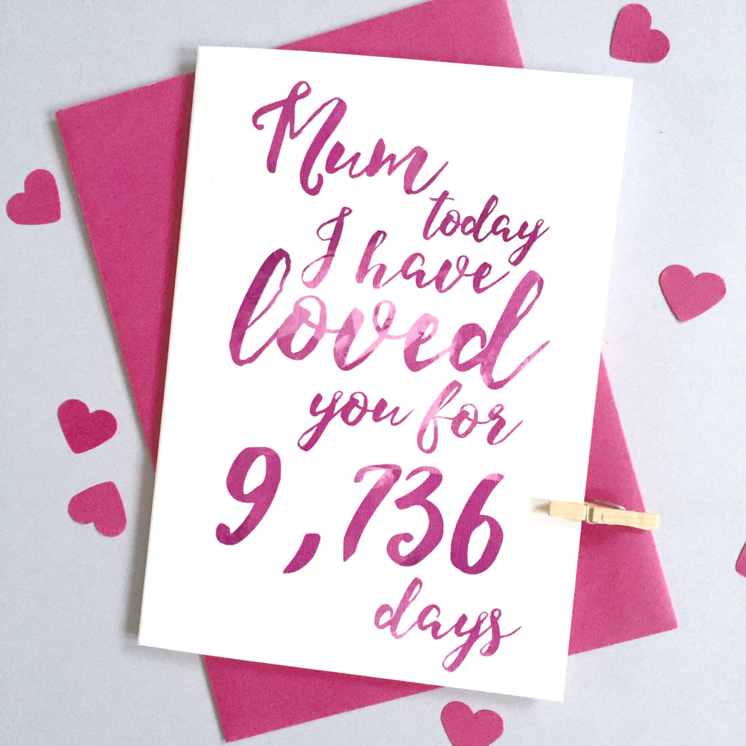 Personalised Mum I've Loved You For Days Card