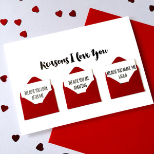 Personalised Reasons I Love You Mini Envelope Card
