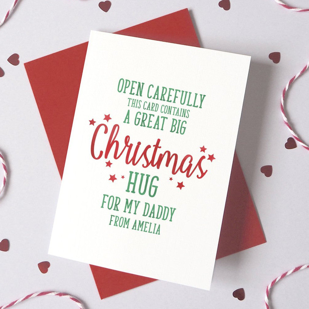 Personalised Christmas Hug For Daddy/Mummy Card
