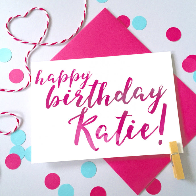 Personalised Birthday Name Calligraphy Card