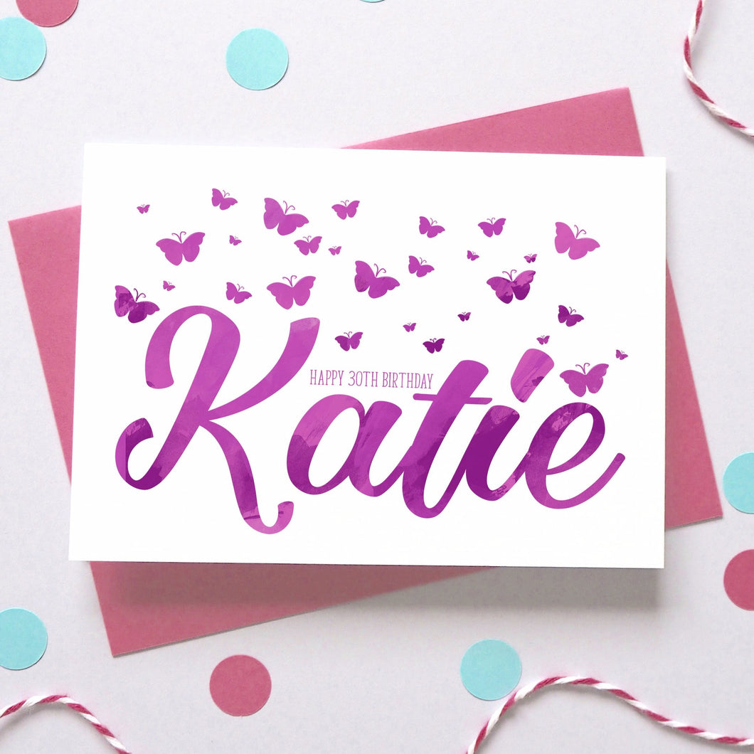 Personalised Birthday Name Butterfly Card