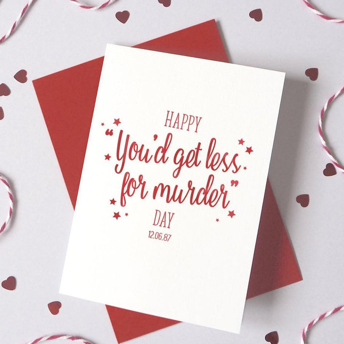 Personalised 'Less for Murder' AnniversaryCard
