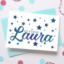 Load image into Gallery viewer, Personalised Birthday Name Starry Card