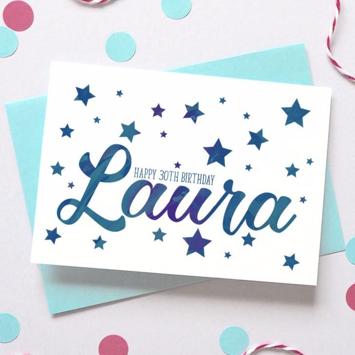 Personalised Birthday Name Starry Card