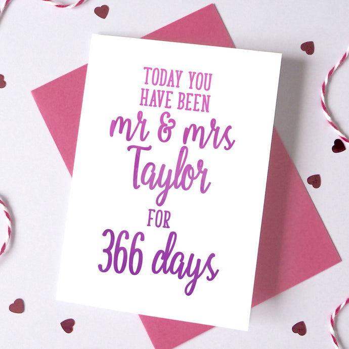 Personalised Days You've Been Mr And Mrs Card