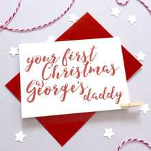 Load image into Gallery viewer, Personalised Calligraphy 1st Christmas As Parents Card