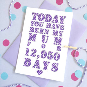 Personalised Days You've Been My Mum Card
