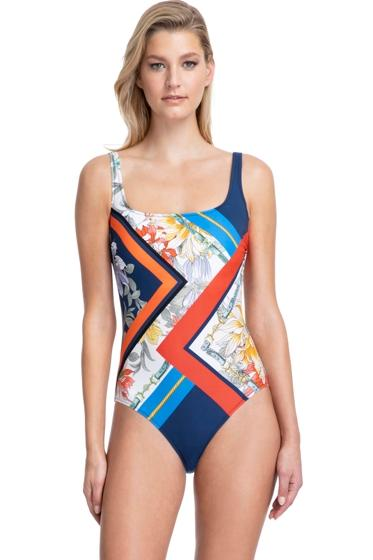 Gottex Classics Fleur Square Neck High Back One Piece Swimsuit (20FR173) Royal Navy and Red - La Lingerie