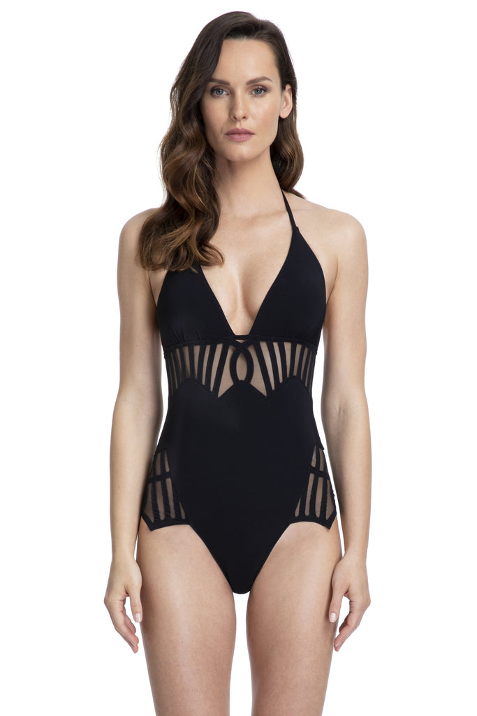 Gottex Couture Andromeda Mesh V-Neck Halter One Piece Bathing Suit (20AN121) Black - La Lingerie