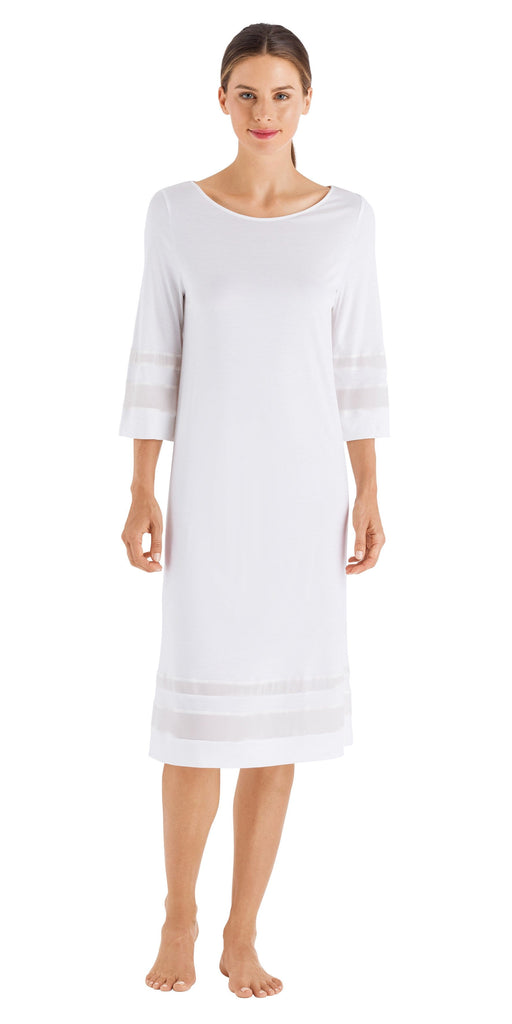 HANRO Anne 3/4 Sleeve Gown (076523) Off-White - La Lingerie