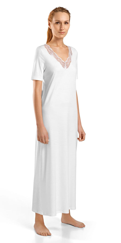 HANRO Valencia Short Sleeve Long Gown (076992) White - La Lingerie