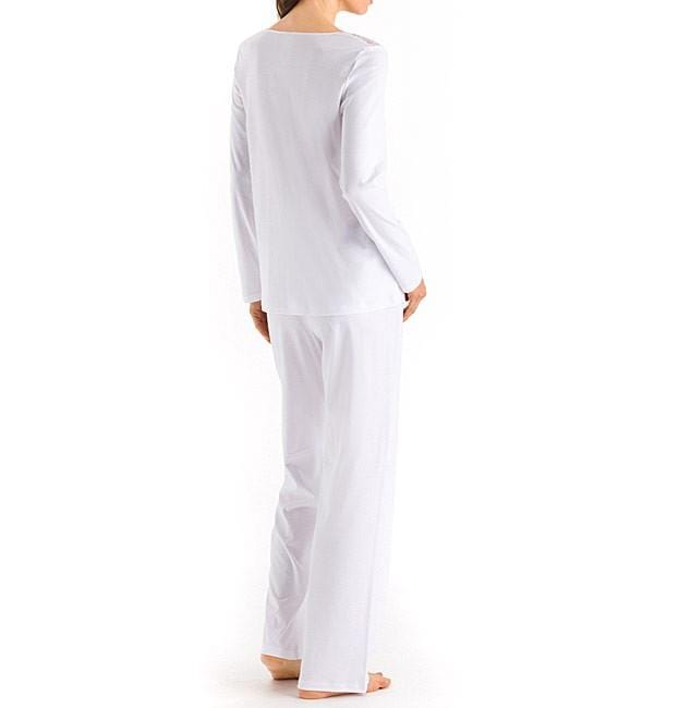 HANRO Moments Long Sleeve Pajama (077932) White - La Lingerie