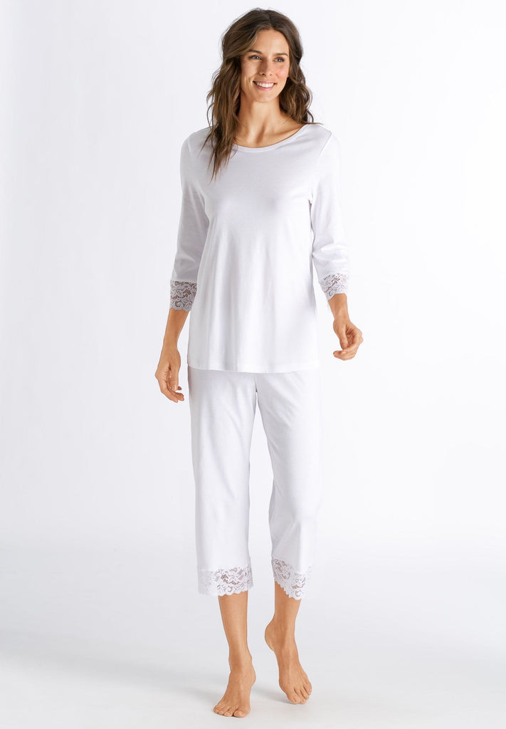 HANRO Moments 3/4 Sleeve Crop Pajama (077928) White - La Lingerie