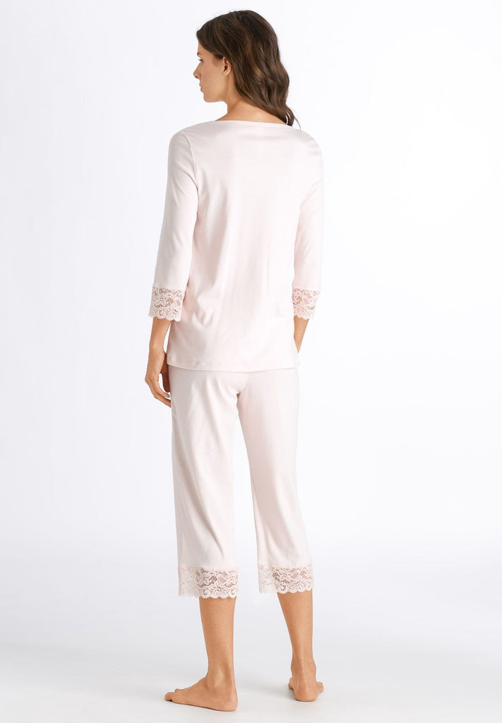 HANRO Moments 3/4 Sleeve Crop Pajama (077928) Crystal Pink - La Lingerie