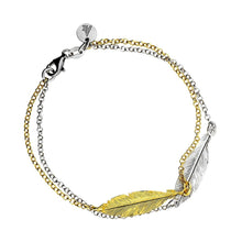 Load image into Gallery viewer, Azendi Silver and Gold Double Feather Bracelet 31902