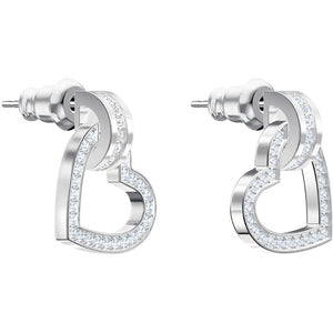 Swarovski Lovely Pierced Earrings, White, Rhodium plating 5466756