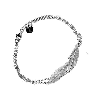 Azendi Silver Double Feather Bracelet 31900 - Silver
