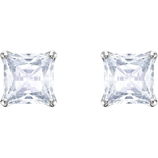 Swarovski Square Attract Stud Pierced Earrings, White, Rhodium plating 5430365