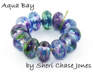 Aqua Bay Frit blend - beads by Sheri Chase Jones