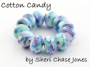 Cotton Candy frit blend by Glass Diversions - beads by Sheri Chase Jones
