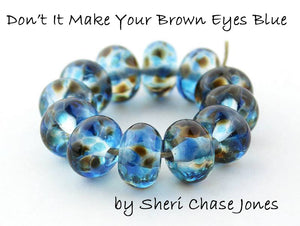 Don't It Make Your Brown Eyes Blue frit blend by Glass Diversions - beads by Sheri Chase Jones