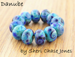 Danube frit blend by Glass Diversions - beads by Sheri Chase Jones