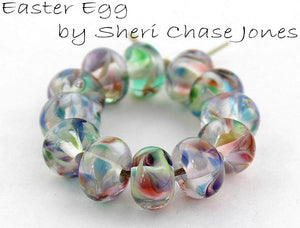 Easter Egg frit blend by Glass Diversions - beads by Sheri Chase Jones