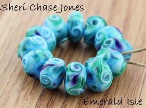 Emerald Isle frit blend by Glass Diversions - beads by Sheri Chase Jones