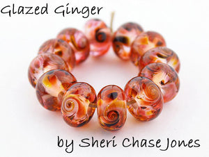 Glazed Ginger frit blend by Glass Diversions - beads by Sheri Chase Jones