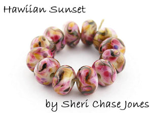 Hawaiian Sunset frit blend by Glass Diversions - beads by Sheri Chase Jones