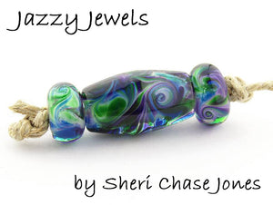 Jazzy Jewels frit blend by Glass Diversions - beads by Sheri Chase Jones