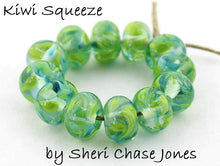 Load image into Gallery viewer, Kiwi Squeeze frit blend by Glass Diversions - beads by Sheri Chase Jones