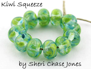 Kiwi Squeeze frit blend by Glass Diversions - beads by Sheri Chase Jones