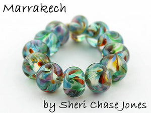 Marrakech frit blend by Glass Diversions - beads by Sheri Chase Jones