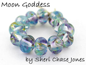 Moon Goddess frit blend by Glass Diversions - beads by Sheri Chase Jones