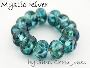 Mystic River frit blend by Glass Diversions - beads by Sheri Chase Jones