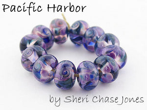 Pacific Harbor frit blend by Glass Diversions - beads by Sheri Chase Jones