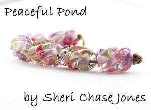 Peaceful Pond frit blend by Glass Diversions - beads by Sheri Chase Jones