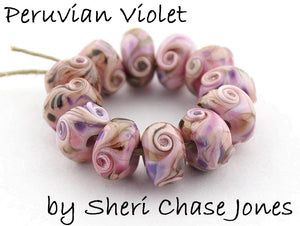 Peruvian Violet frit blend by Glass Diversions - beads by Sheri Chase Jones