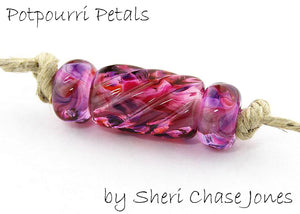 Potpourri Petals frit blend by Glass Diversions - beads by Sheri Chase Jones