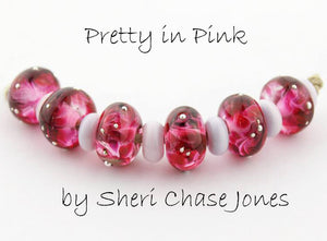 Pretty in Pink frit blend by Glass Diversions - beads by Sheri Chase Jones