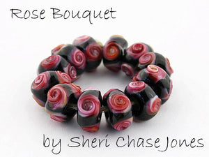 Rose Bouquet frit blend by Glass Diversions - beads by Sheri Chase Jones