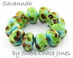 Savannah frit blend by Glass Diversions - beads by Sheri Chase Jones