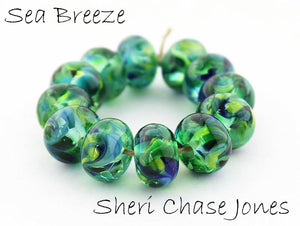 Sea Breeze frit blend by Glass Diversions - beads by Sheri Chase Jones