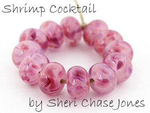 Shrimp Cocktail frit blend by Glass Diversions - beads by Sheri Chase Jones