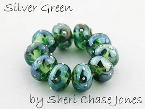 Silver Green frit by Glass Diversions