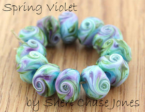 Spring Violet frit blend by Glass Diversions - beads by Sheri Chase Jones